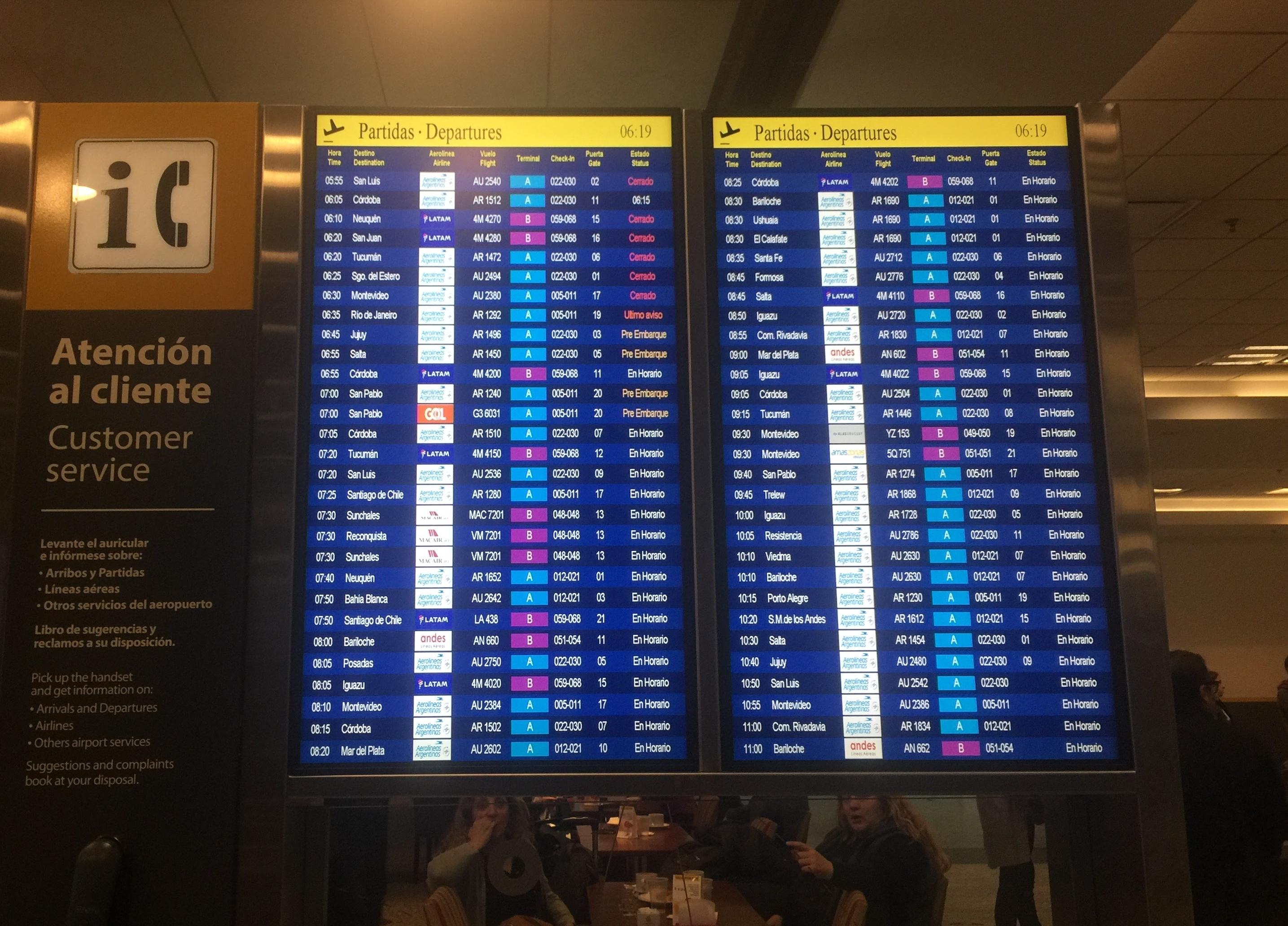 Problemas en Aeroparque el viernes 16 de noviembre
