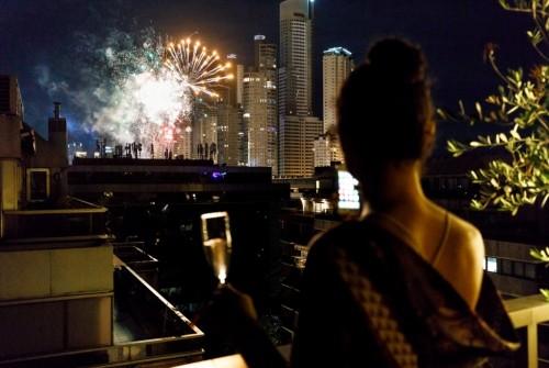 Año Nuevo desde las terrazas de Puerto Madero