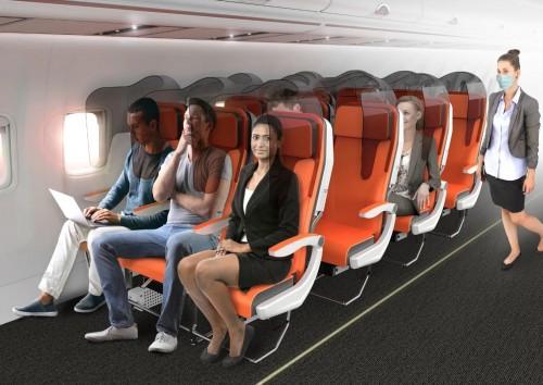¿Así serán los asientos en los aviones post-pandemia?