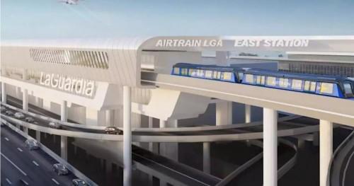 Construyen un tren aéreo para el aeropuerto de La Guardia