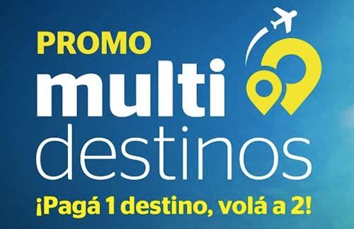 Una promo multidestinos: pagando el vuelo a uno,se viaja a dos